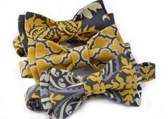 Mens Pre-tied Granite Grey and Mustard Yellow Bow Tie on Etsy, Sold