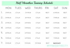7 week Half Marathon Training Schedule. Works better with my work schedule
