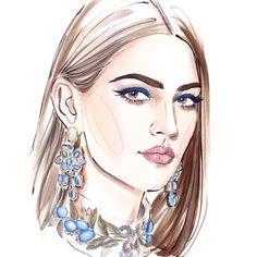 Fashion Illustration Face, Makeup Illustration, Jewelry Illustration, Beauty Illustrations, Fashion Painting, Fashion Art, Fashion Portfolio Layout, Jewelry Design Drawing, Unique Drawings