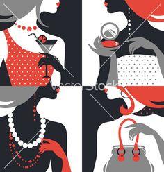 Set of beautiful fashion woman silhouettes vector - by pimonova on VectorStock®  lb_simple color tricks