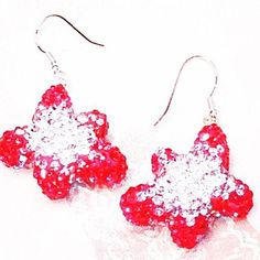 Crystal Star Earrings In Red And White Handmade Jewelry By NorthCoastCottage Jewelry Design & Vintage Treasures. Turn heads with these bright and happy star earrings in red crystals with white and clear crystals on top. Sure to lift your mood and make others smile - get ready to