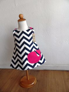 Nautical Navy & White Pinafore with Fuchsia Pink Whale on Etsy, $28.00