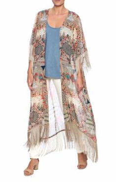 Put this fringe kimono over your favorite pair of skinny jeans and t-shirt and you're ready to head out the door.