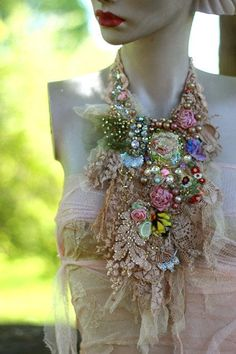 Experimental neck adornments in my original style,-series with old laces& hand embroidery inspired by baroque shades/garments. Can be worn over simple tshirt or top to spice it up. The particular pieces are inspired by jabot designs. This shabby chic detailed neckpiece is made of wide