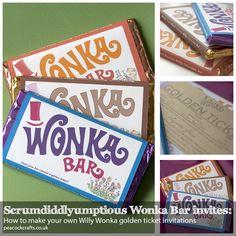 Scrumdiddlyumptious Wonka Bar Invites: How to make your own Willy Wonka golden ticket invitations