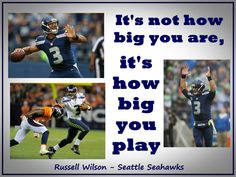 """Russell Wilson Seattle Seahawks Photo Quote Poster Wall Art Print 8x11"""" It's Not How Big You Are - It's How Big You Play - Free USA Shipping"""