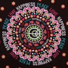 brown Michael Miller fabric Peace Love Happiness flower  beautiful fabric with big peace pattern with flowers from the USA