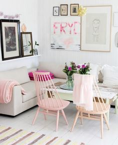 Pastel pink dining room chairs