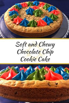 Use the best chocolate chip cookie dough recipe to form into a deliciously soft and chewy cookie cake that's perfect for any occasion! Chocolate Chip Cookie Cake, Cookie Dough Recipes, Cool Wedding Cakes, Easy Desserts, Summer Recipes, Cooking Blogs, Good Food, Meatless Recipes, Summer Food