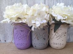Image result for gray painted mason jars with flowers