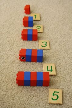 DIY Montessori Number rods with Duplos