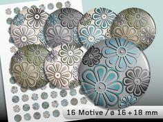 Digitale Downloads - Cabochon Vorlage 16 und 18 mm Vintage-Frühling #2 - ein Designerstück von FunStyleDigital bei DaWanda