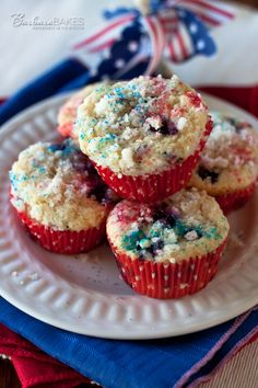 Kick off your Independence Day celebration this year with red, white and blue muffins.   Barbara Bakes