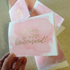 Will You Be My Bridesmaid Card - Will You Be My Maid of Honor Card - Hand Lettered Card - Watercolor and Gold Glitter Embossed by WestSheridan on Etsy https://www.etsy.com/listing/211897480/will-you-be-my-bridesmaid-card-will-you