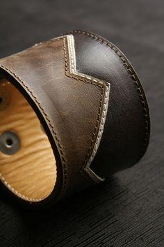 Leather Cuff Bracelet, Leather Bracelet with mountain design