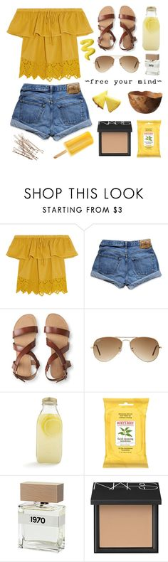 """✧;; another day of sun"" by kickitap ❤ liked on Polyvore featuring Madewell, Abercrombie & Fitch, Aéropostale, Ray-Ban, Bormioli Rocco, Burt's Bees, Bella Freud, NARS Cosmetics, Solantu and Kickitapsets"