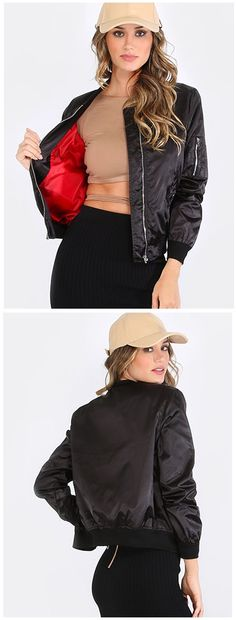 """Go street in the Ribbed Bomber Jacket! Features a ribbed collar, ribbed cuffs, and a sleeve pocket with a zipper closure. Jacket measures 20"""" in approx from collar to bottom hem. Pair with a slim bodycon dress and strappy sandals for a celeb inspired ensemble!"""