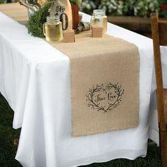 camino de mesa de arpillera con estampa …