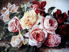 Print FREE SHIP Summer Cabbage Roses by VictorianRosePrints, $11.99