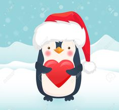 Noel Christmas, Merry Christmas And Happy New Year, Christmas Crafts, Christmas Shoes, Cute Animal Illustration, Christmas Illustration, Penguin Cartoon, Cartoon Heart, Girl Bedroom Designs