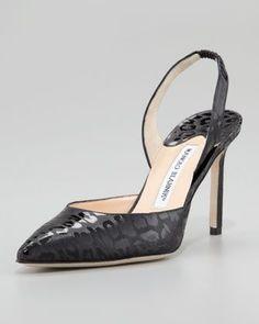 Carolyne Leopard-Print Vinyl Halter Pump by Manolo Blahnik at Neiman Marcus. Slingback Shoes, Pumps Heels, Slingbacks, Manolo Blahnik Heels, Beautiful High Heels, Designer Heels, Designer Wear, Shoe Show, Kinds Of Shoes