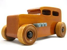 Wooden Toy Car - Hot Rod Freaky Ford - 1932 Ford Sedan - Black - Gray - Amber Shellac 572756559 #odinstoyfactory #handmade #woodentoys #hotrod
