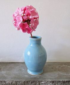 Stoneware Bottle Vase in Baby Blue - Bud Vase - Hand Thrown - Pottery - Home Decor - Art and Collectables - Cornflower Blue - Aqua - Gifts