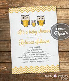 Neutral Baby Shower Invitation, Owls, Boy, Girl, Vintage, Yellow, Gray, Grey, Chevron, Printable File (Custom, INSTANT PROOF) by InvitingDesignStudio on Etsy