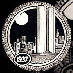 ANDY GONZALES HOBO NICKEL - TWIN TOWERS - 1937 BUFFALO NICKEL Hobo Nickel, Coin Art, Old Coins, Coin Collecting, Paper Cutting, Carving, Seals, Towers, Awesome Stuff