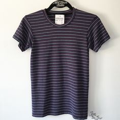 """BNWT 23"""" striped top 23"""" in length  Color: purple, blue, red and white stripes Brandy Melville Tops Tees - Short Sleeve"""