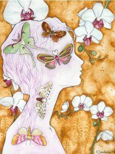 Empress Orchid by Ethlinn on DeviantArt Illustrations, Illustration Art, Butterflies Flying, Found Art, My Spirit Animal, Art Journal Inspiration, Pretty Pictures, Pretty Pics, Collage Art