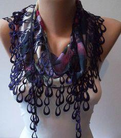 Dark Purple and Elegance Shawl / Scarf with Lace by SwedishShop, $14.90