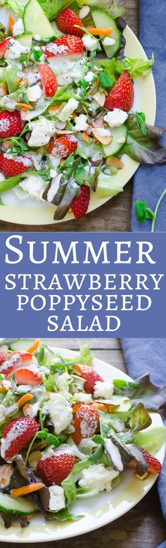 The best recipe for easy strawberry poppyseed salad!  With a homemade buttermilk poppyseed dressing and loads of ripe strawberries, chunks of salty cheese, crunchy almonds  and tender greens!  See for yourself!