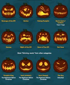 Zombie Pumpkins! The BEST pumpkin carving templates around!