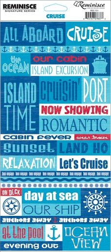 Cruise Quotes - Cardstock Scrapbooking Stickers - added extras for scrapping