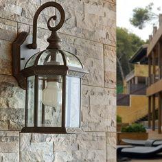 Applique extérieure électrique descendante en aluminium et verre Teruel (marque : Faro)
