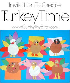 Invitation to Create: Turkey Time. Open ended, creative, quick and easy kids paper Thanksgiving craft. Great for color and shape recognition. Perfect fine motor work for toddlers, preschoolers, and elementary kids. Thanksgiving Projects, Thanksgiving Art, Thanksgiving Preschool, Fall Preschool, Preschool Art Projects, Art Activities, Preschool Crafts, Preschool Ideas, Toddler Activities