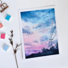Sky was the main subject that forced me to try watercolours. I use to paint only with acrylics before(… Watercolor Paintings For Beginners, Watercolor Drawing, Watercolor Illustration, Painting & Drawing, Cute Canvas Paintings, Small Canvas Art, Mini Canvas Art, Watercolor Inspiration, Aesthetic Painting