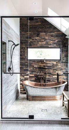 master bath copper tub Decor Interior Design, Interior Doors, Luxury Interior, Interior Design Living Room, Living Room Designs, Scandinavian Interior Design, Interior Decorating, Modern Bathroom, Diy Bathroom Decor