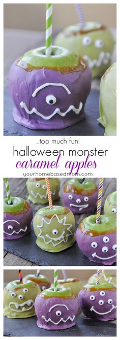 Halloween Monster Caramel Apples - as fun to make as they are to eat!