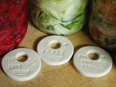 Porcelain Pickle Weights! Food safe and non-porous!