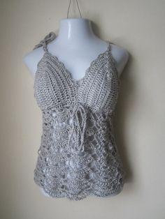 Crochet halter top camisole halter top lace by Elegantcrochets, $72