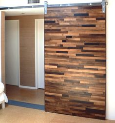 Sliding wood door - game room separation