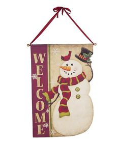 Take a look at this 'Welcome' Cutout Snowman Wall Art by GANZ on #zulily today!