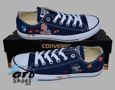 Hand Painted Converse Low Sneakers. Pocahontas, Meeko, Flit. Handpainted shoes. Genuine Touch Designs.