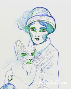 Lady and her cat, watercolor illustration by littlehorse.