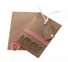 Brown kraft card laser cut wedding stationery razzledazzlerose.co.uk