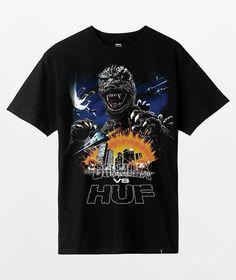 HUF x Godzilla Tour Black T-Shirt | Zumiez Tie Dye Long Sleeve, Short Sleeve Tee, Godzilla Vs, Diamond Supply, Tour T Shirts, Huf, Black Hoodie, Tees, Mens Tops