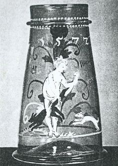 enamel-painted glass jug dated 1572 with motif of the foxtail caught between the woman's legs. Osterreichisches Museum fue angewandte Kunst, Vienna. There is a similarly painted and inscribed glass goblet in the GNM (no. GL 155)