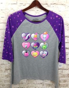 NWT SHOPKINS Purple Gray Graphic T-Shirt Top Size XL 14-16 Girl's Poly Nylon New #Shopkins #Everyday